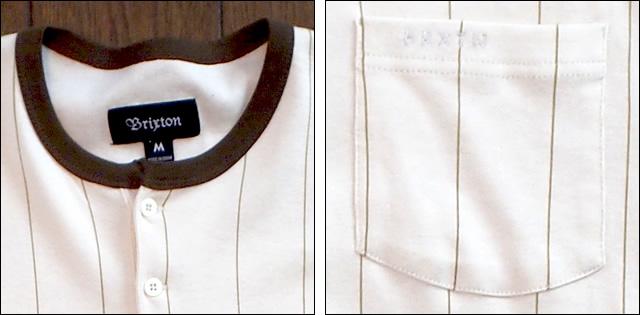 brixton【ブリクストン】ラグランロンT Detroit カラーCream/Brown Stripe